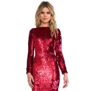 DRESS THE POPULATION Lola sequin dress ruby medium